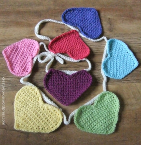 crochet hearts on string