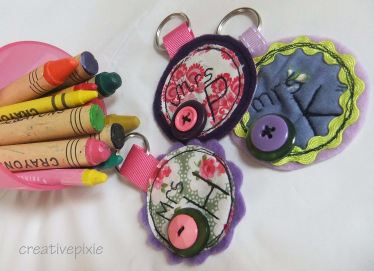 crayons and keyrings