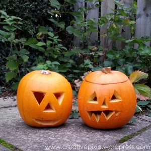 Creative Pixie carved pumpkins