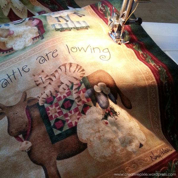 Chrsitmas wall hanging being sewn