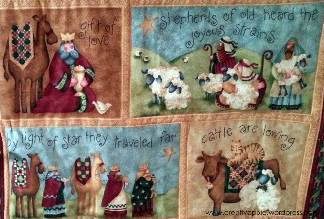 lower third of Christmas wall hanging