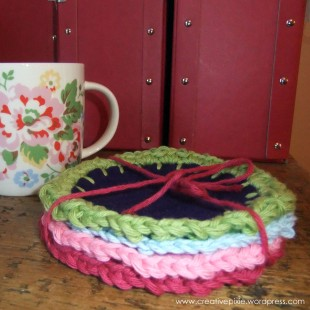 creative pixie felt and crochet coasters