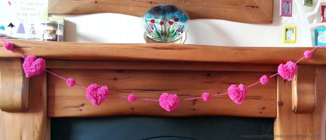 Creative Pixie heart pom pom garland