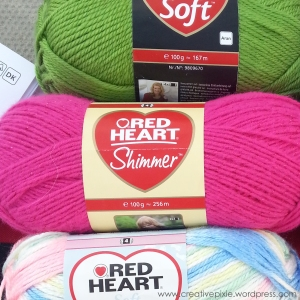 Creative Pixie Red Heart Shimmer pink yarn