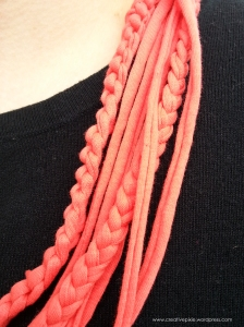 Creative Pixie t shirt yarn necklace closeup