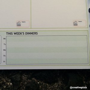 Creative Pixie Personal Planner dinners