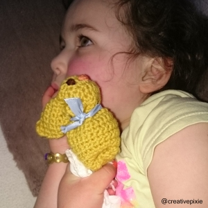 creative pixie crochet Easter bunny and Miss E