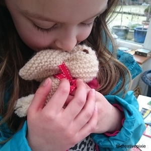 creative pixie knitted Easter bunny and Miss P