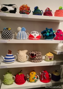 Knitters cosies at the exhibition