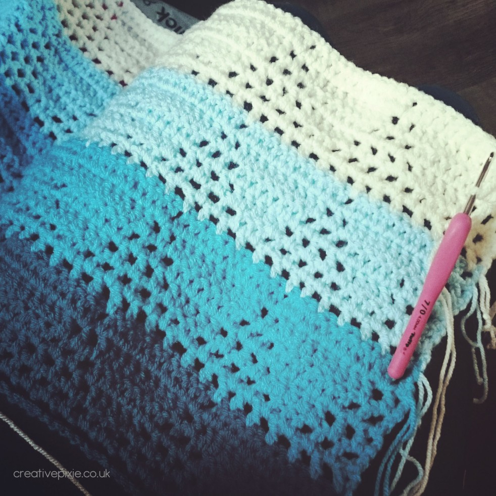 crochet filet triangles blanket